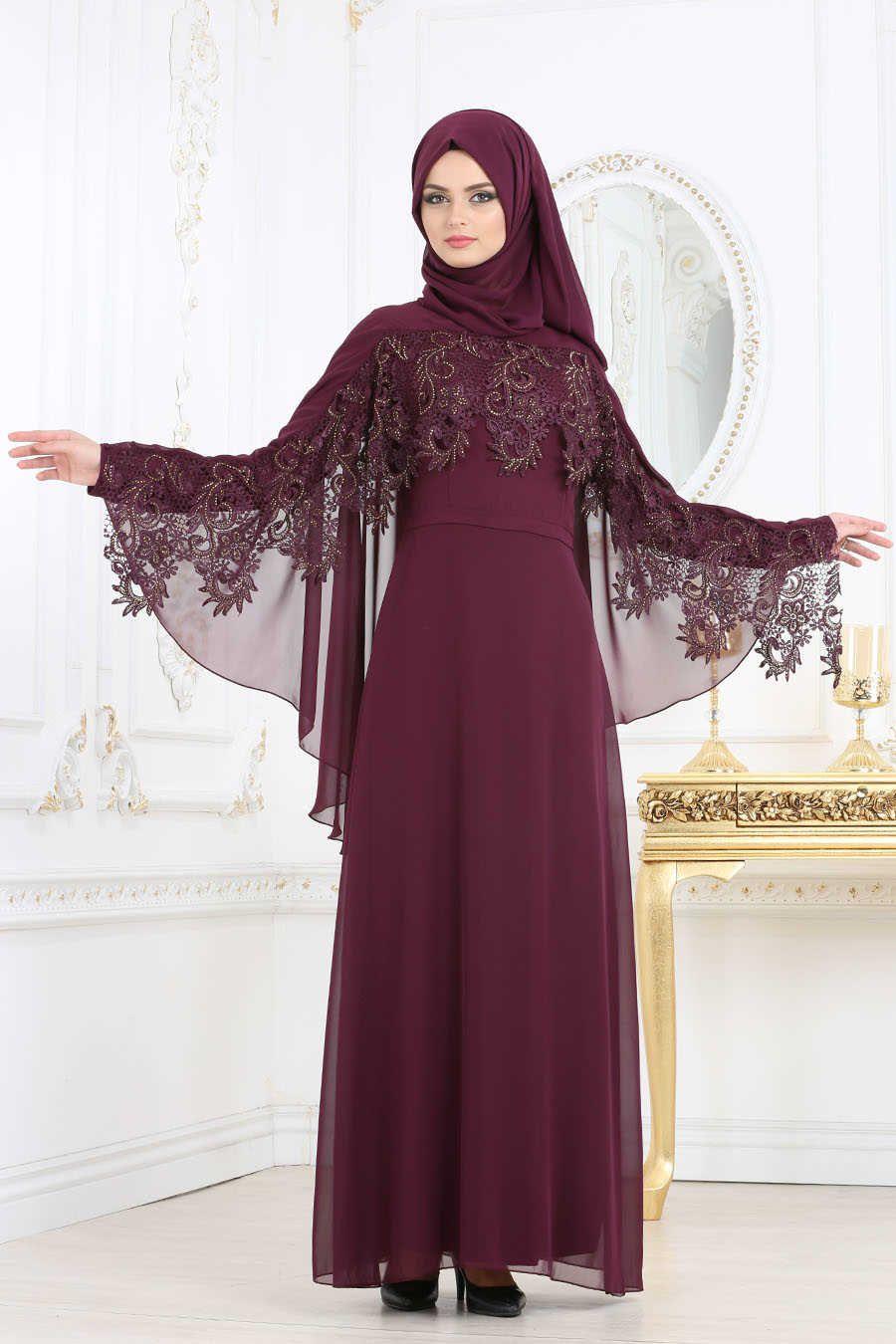 Neva style plum color hijab evening dress mu evening dress