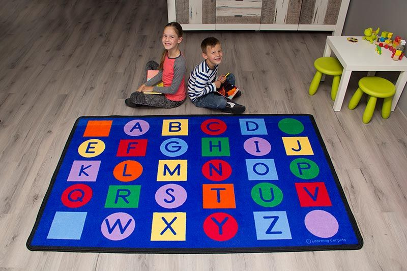 Alphabet On Circles And Squares Educational Rug Value Size Children S Factory Teaching Colors Rugs Classroom Rug