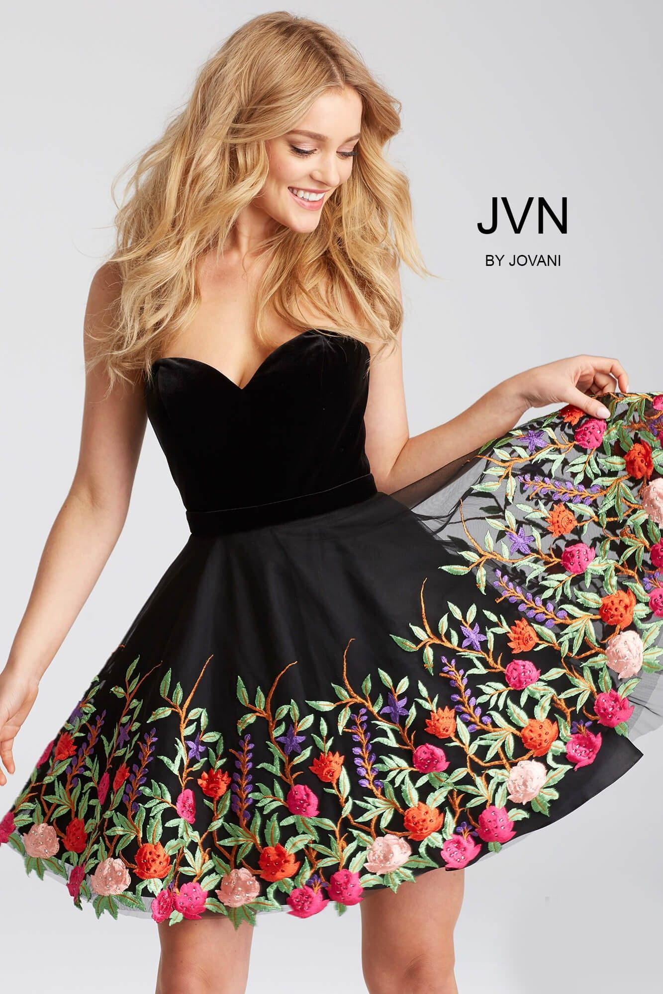 Jvn54508 By Jovani Is A Perfect Mixture Of Contemporary Colorful And Sophisticated The Timeless Stra Short Dresses Strapless Dresses Short Black Short Dress [ 2000 x 1333 Pixel ]