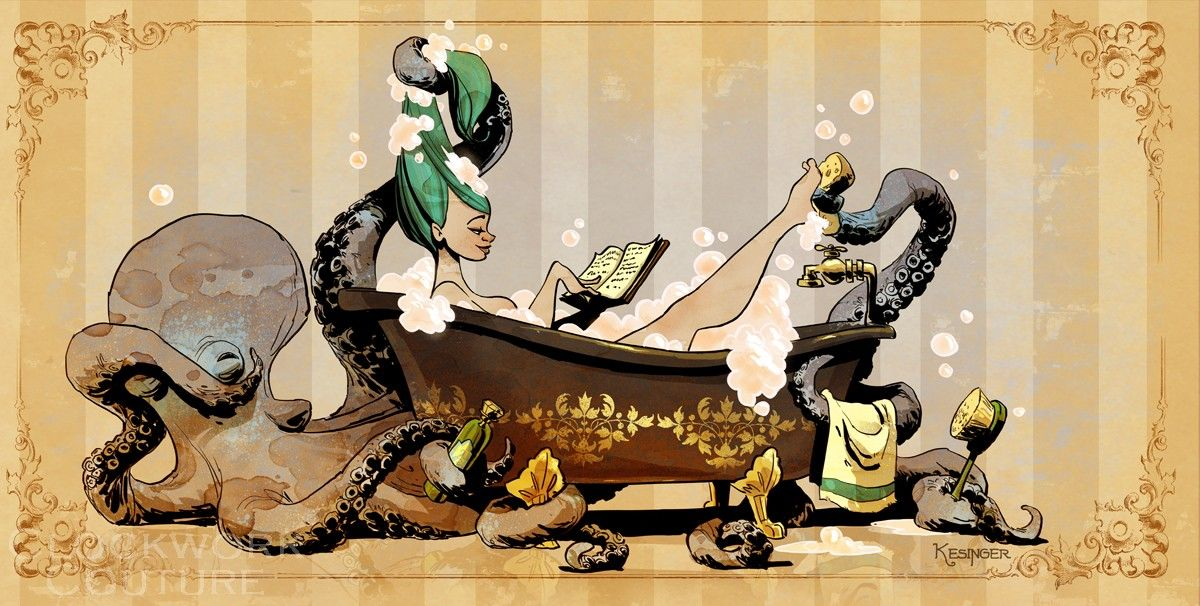 """Bathtime with Otto"" art by Brian Kesinger"