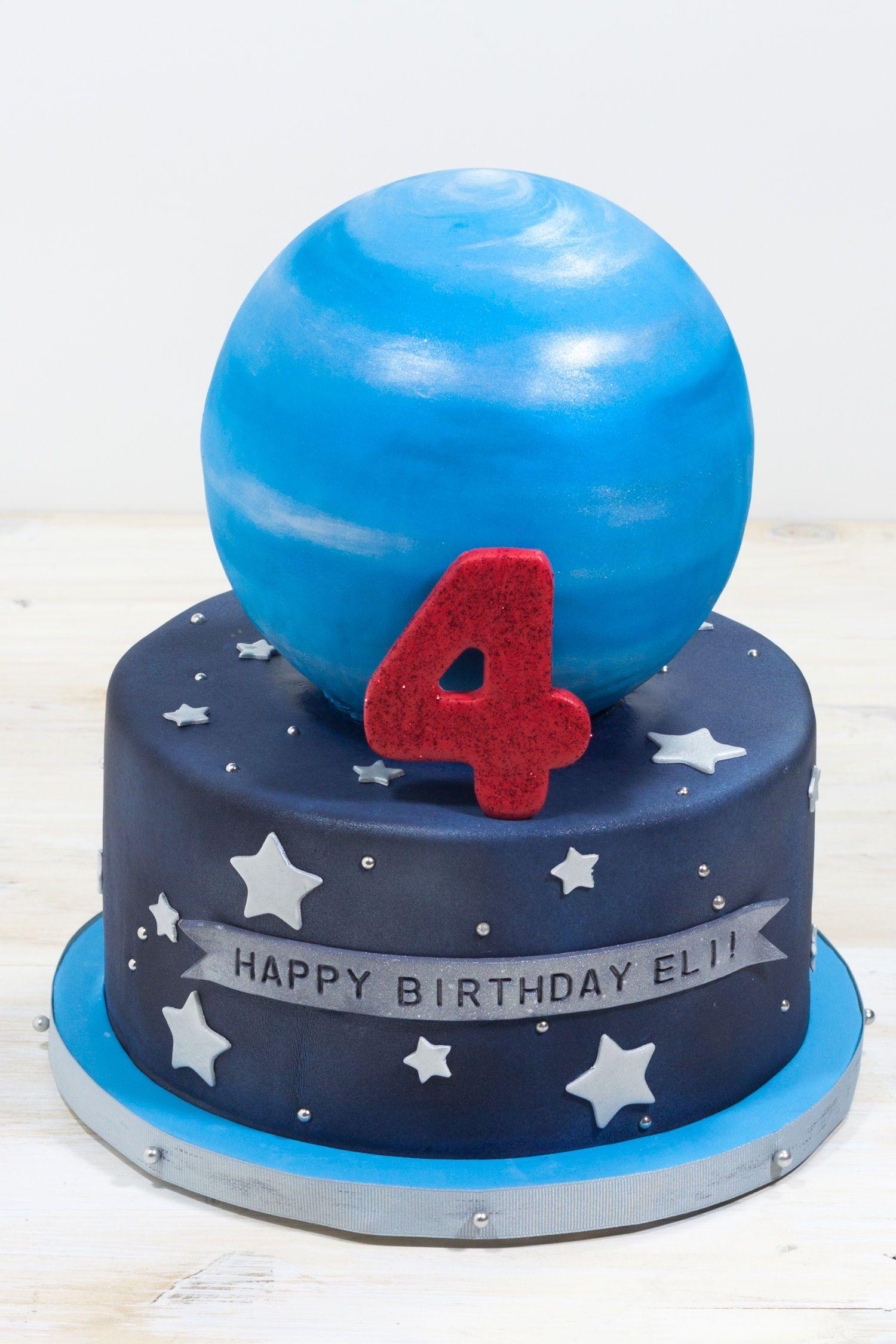 Whipped custom space themed birthday cake
