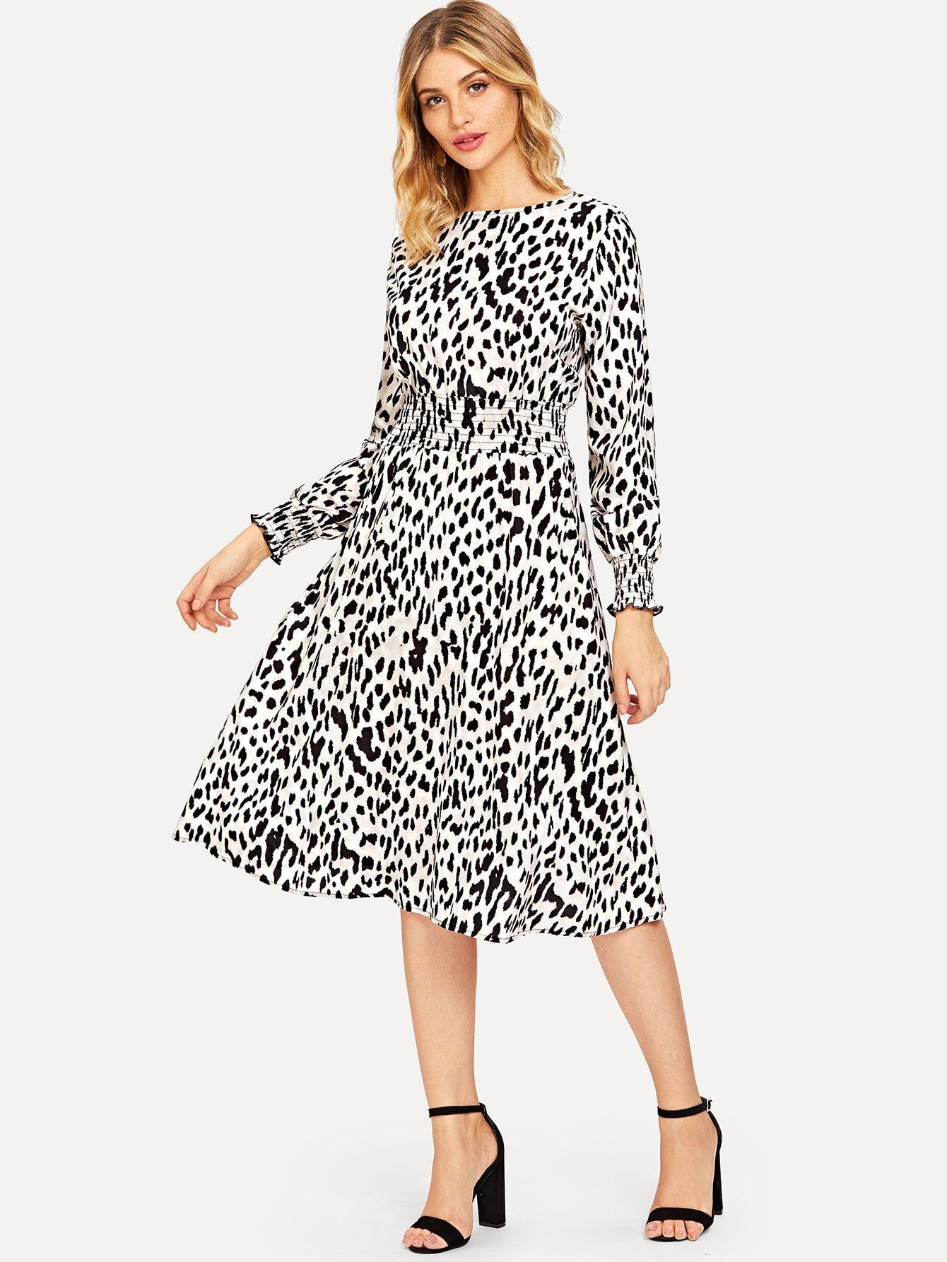 068425b79ca8 Leopard Print Shirred Waist Dress | SHEIN | Clothes in 2019 ...