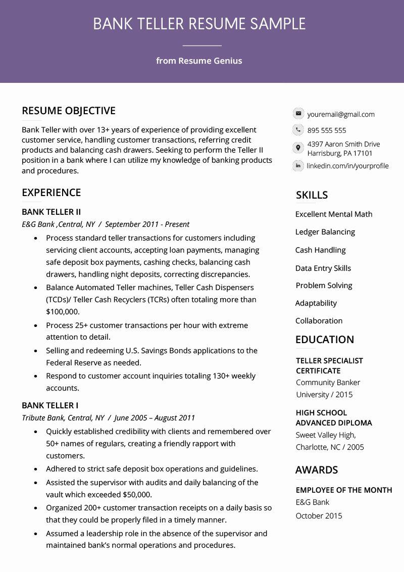 Bank teller resume examples best of bank teller resume