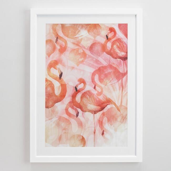Flamingos with White Frame