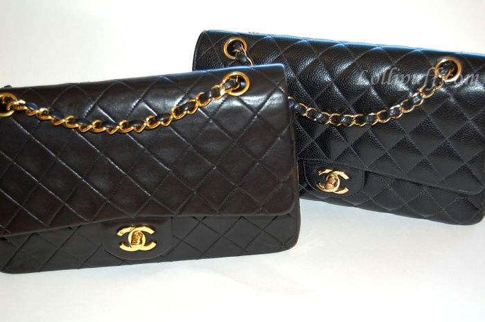 1b900bc4df19 Lambskin vs Caviar Chanel 2.55 double flap in medium large | The ...