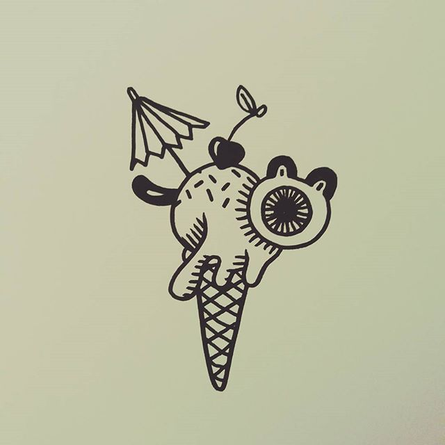 Hey @twirl_look here is a little ice cream monster for you ! #icecream #cone #monster #ink #indianink #summer #sun #art #illustration #artwork #blackandwhite #blancinegre…
