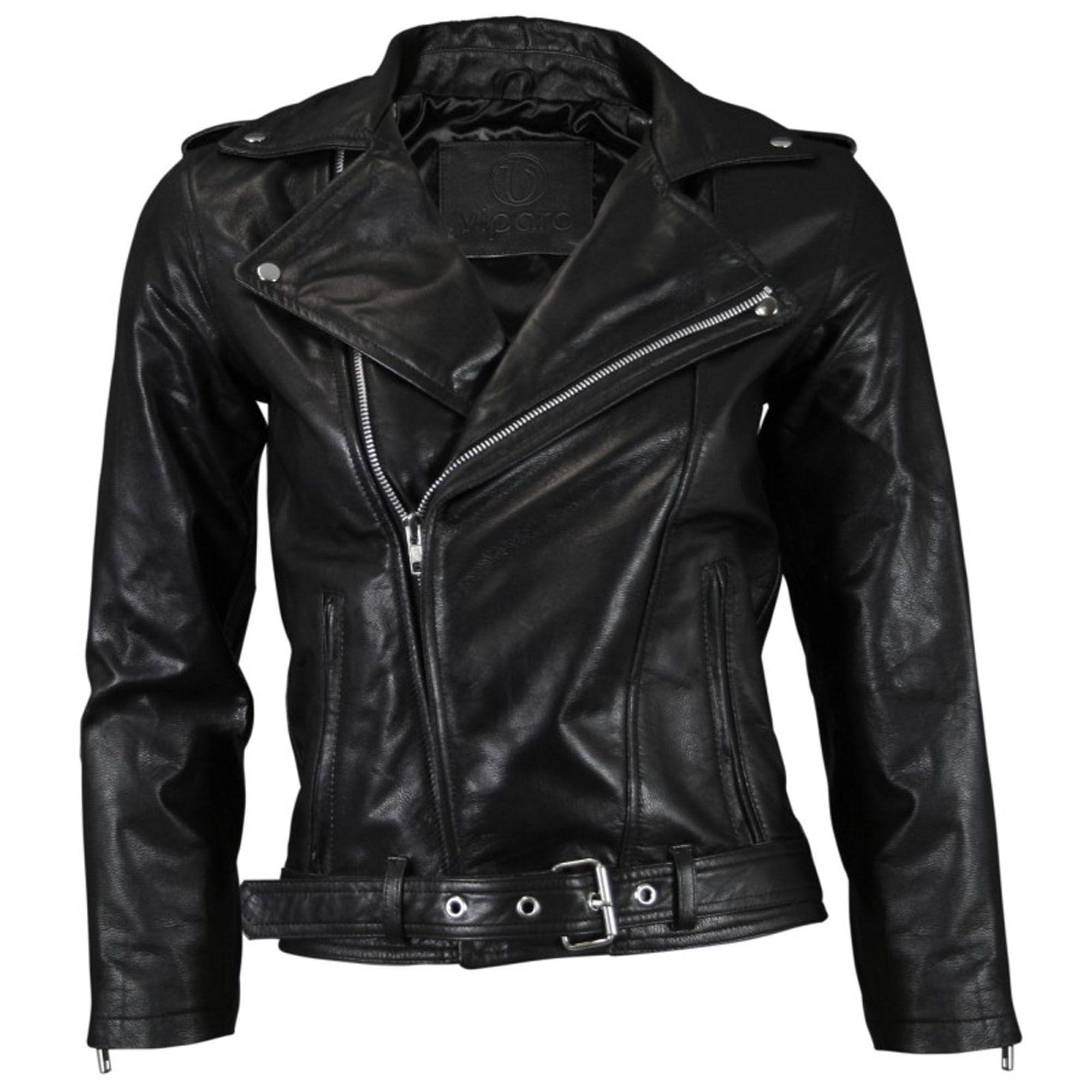 Black CroppedSleeve Leather Biker Jacket Frida Best