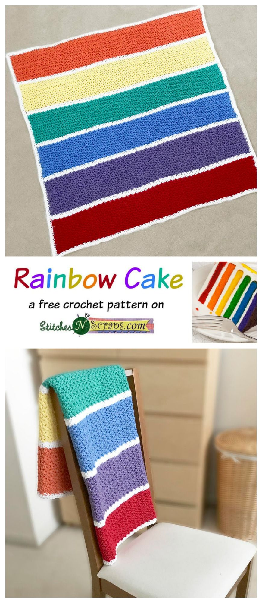 Free Pattern - Rainbow Cake | Häkeldecke und Häkeln