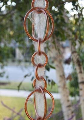 Rain Chain Copper Circles Chain Rain How To Install Gutters