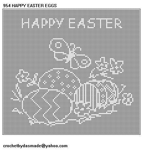 954 Happy Easter Egg Scene Filet Crochet Doily Pattern Crochet