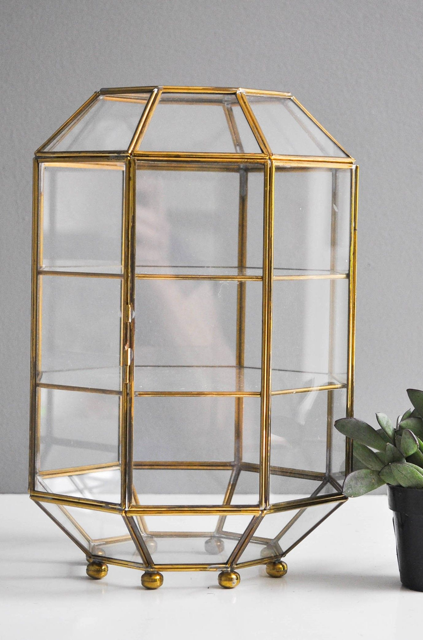 Large Vintage Octagonal Brass And Glass Terrarium With Door
