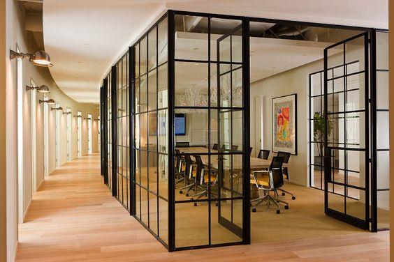 Black Swinging Door : Double swinging doors black trimmed glass office decor