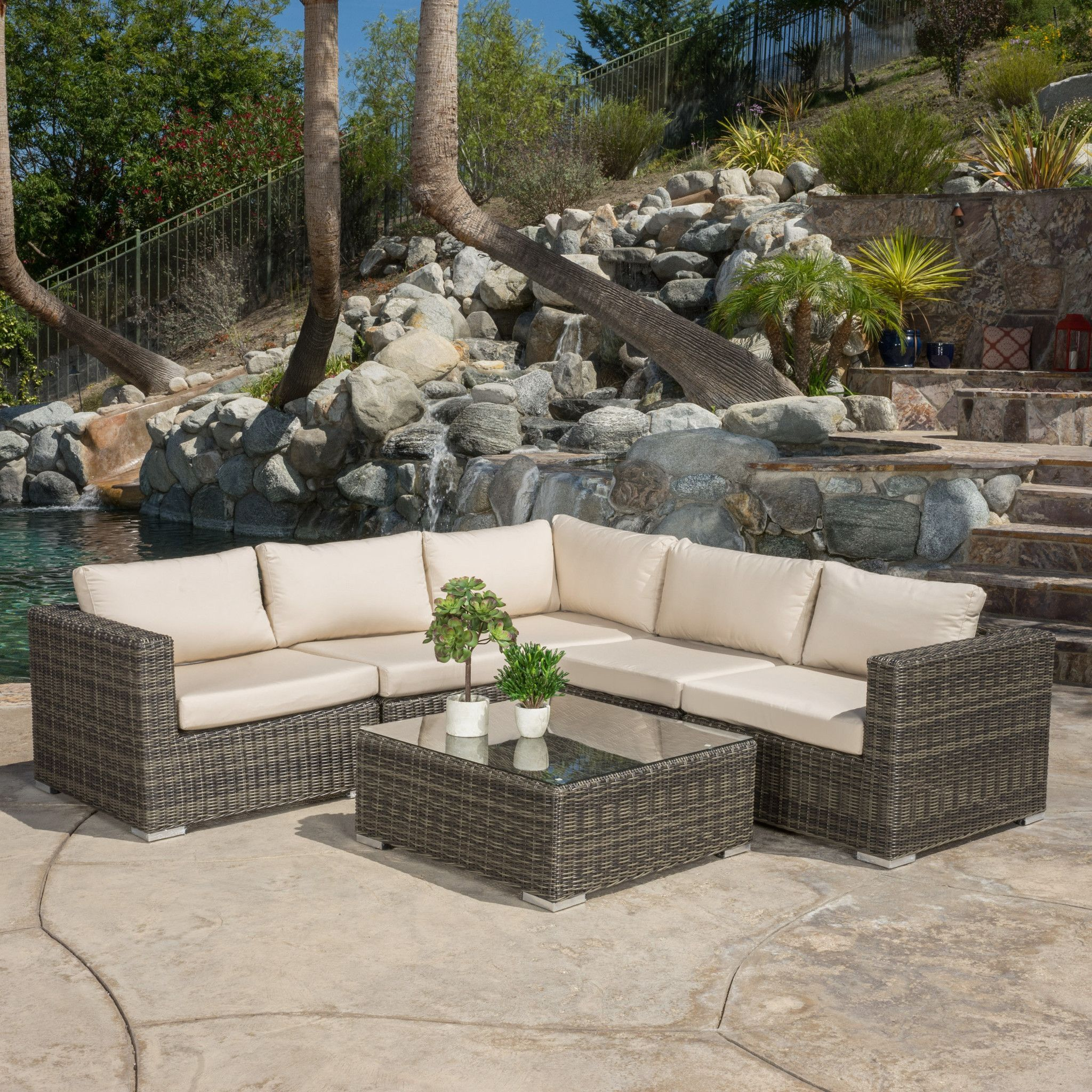Best Francisco Outdoor 6 Piece Wicker Seating Sectional Set 640 x 480