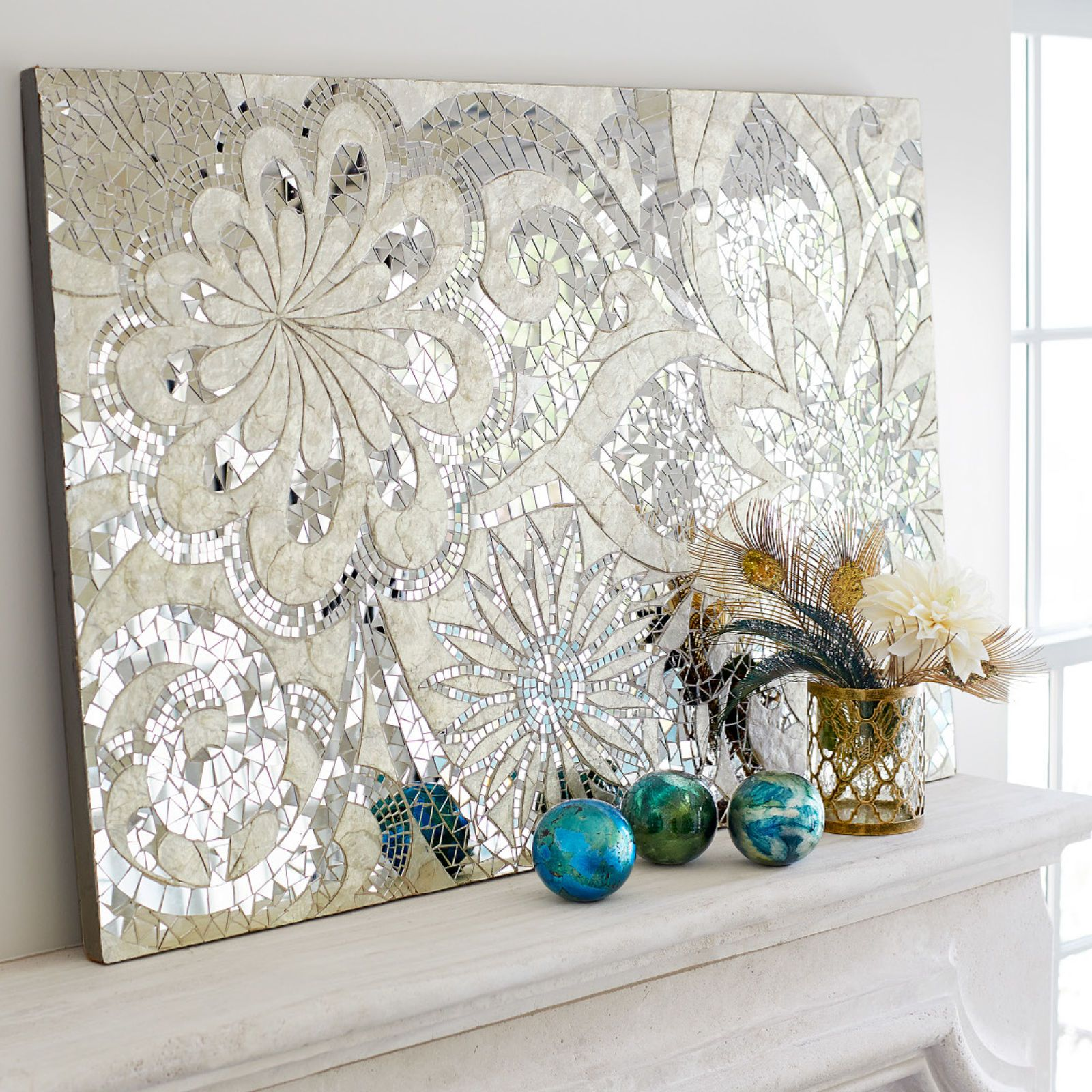 Mosaic Wall Art floral capiz mosaic wall panel | mirror tiles, indonesia and mosaics