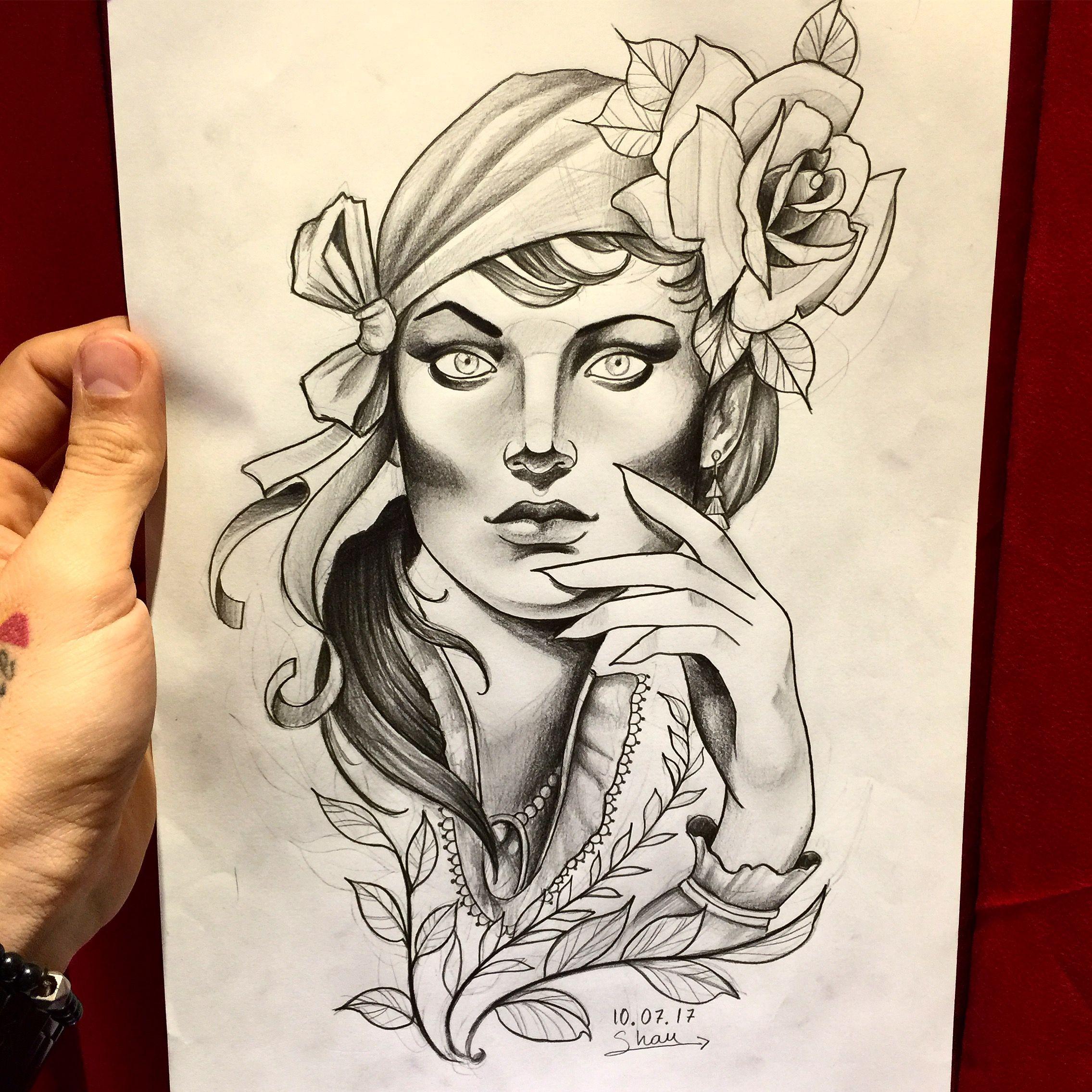 Estudo  disponível para tatuar   Ótima semana pra nós  #inspiration #inspired #inspiracao #womandrawing #neotradicional #inspirationtattoo #inspiredtattoo #draw #drawing #desenho #desenhando #shautattoo #marceloshau #rangeltattoostudio #arte #art #cigana