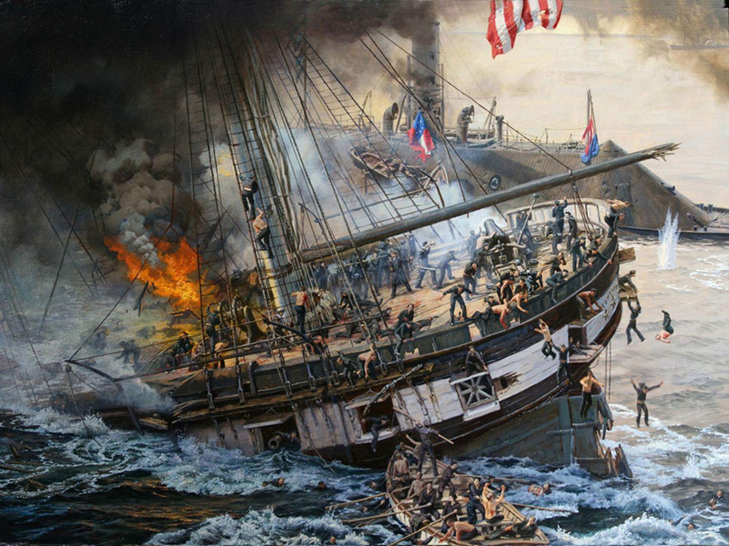El USS Cumberland se hunde junto a 121 hombres de su tripulación tras ser embestido y cañoneado por el CSS Virginia, cortesía de James Gurney. La mejor colección de láminas en http://www.elgrancapitan.org/foro/