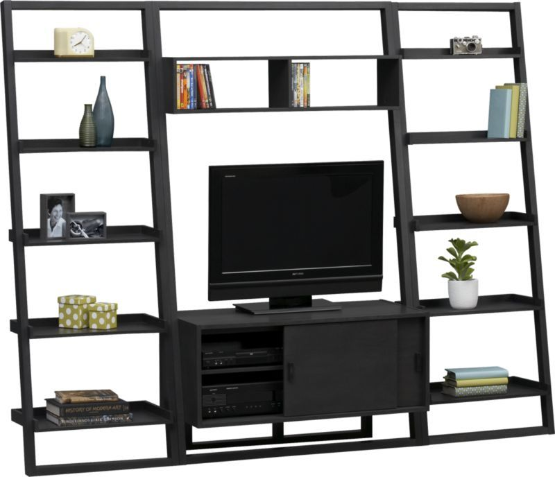 Sloane Grey 43 75 Quot Leaning Media Stand With Two 25 5 Quot Bookcases Crate And Barrel