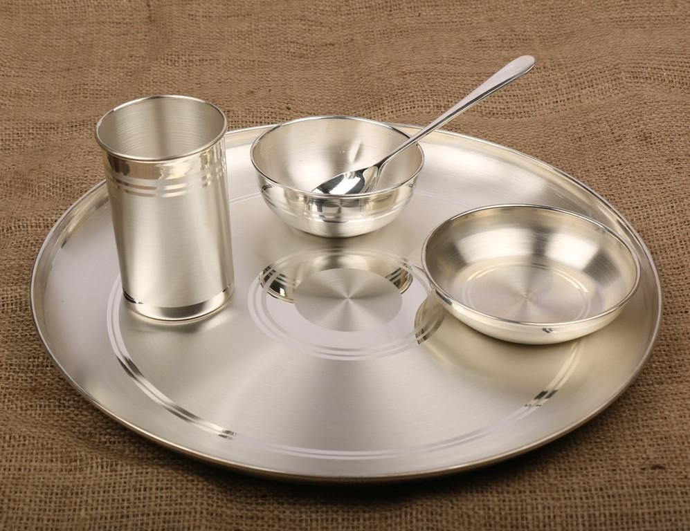 Silver Dinner Set 990 Bis Hallmarked Certified Silver Pooja Items Dinner Sets Pure Products