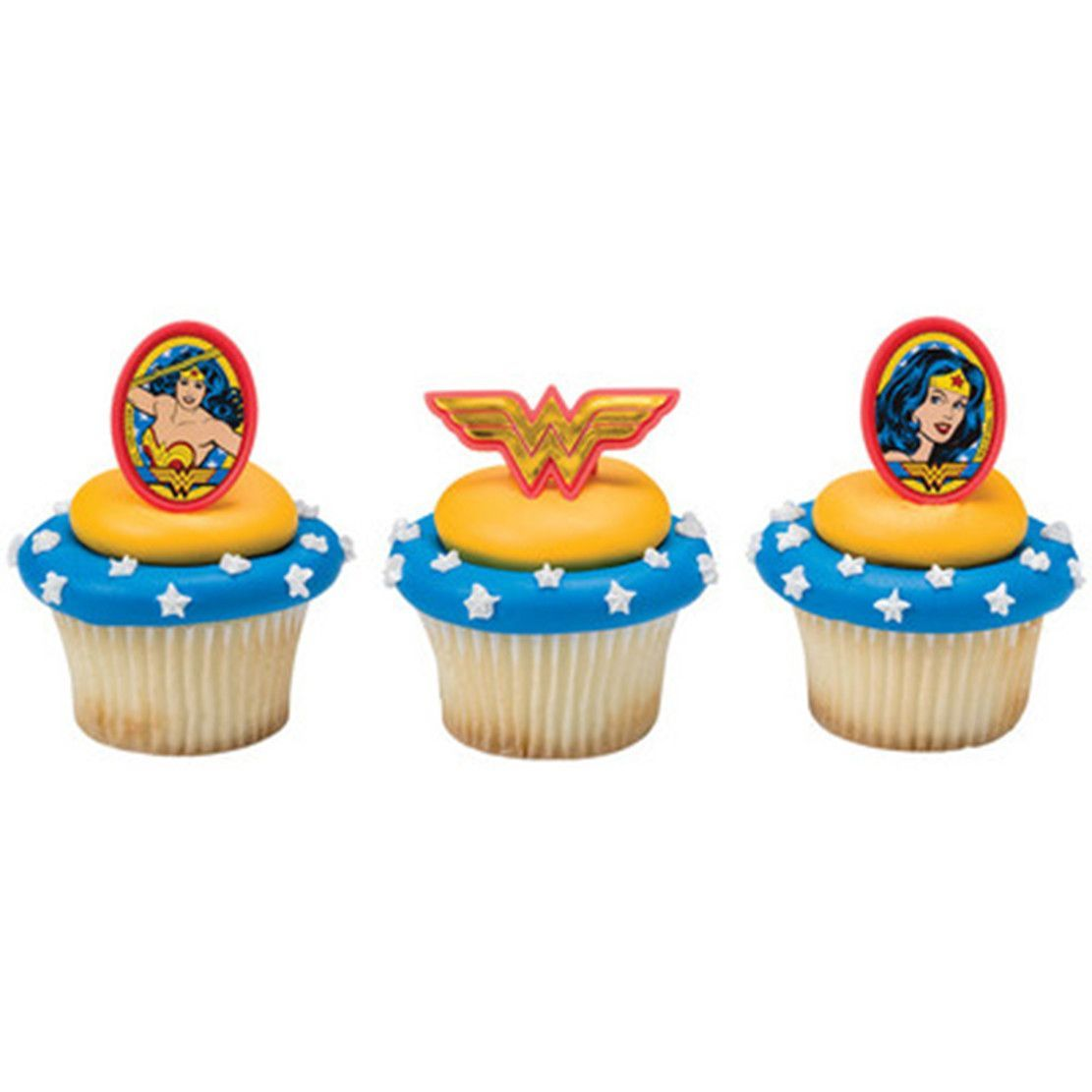 22 wonder woman amazing amazon cupcake topper rings