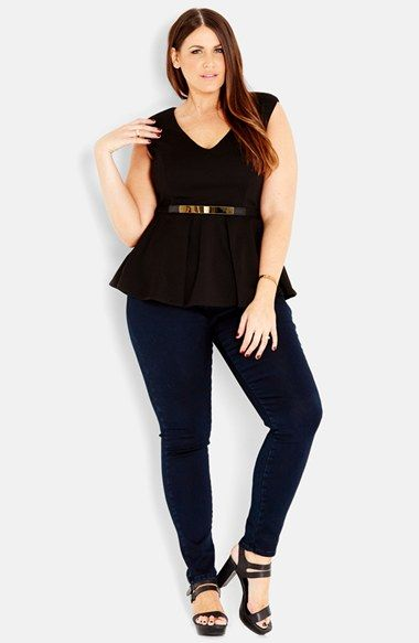 City+Chic+Metal+Belt+Peplum+Top+(Plus+Size)+available+at+#Nordstrom