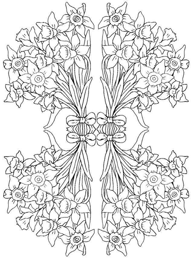 Adult Coloring Page Flowers Hyacinths Mandala Coloring Pages
