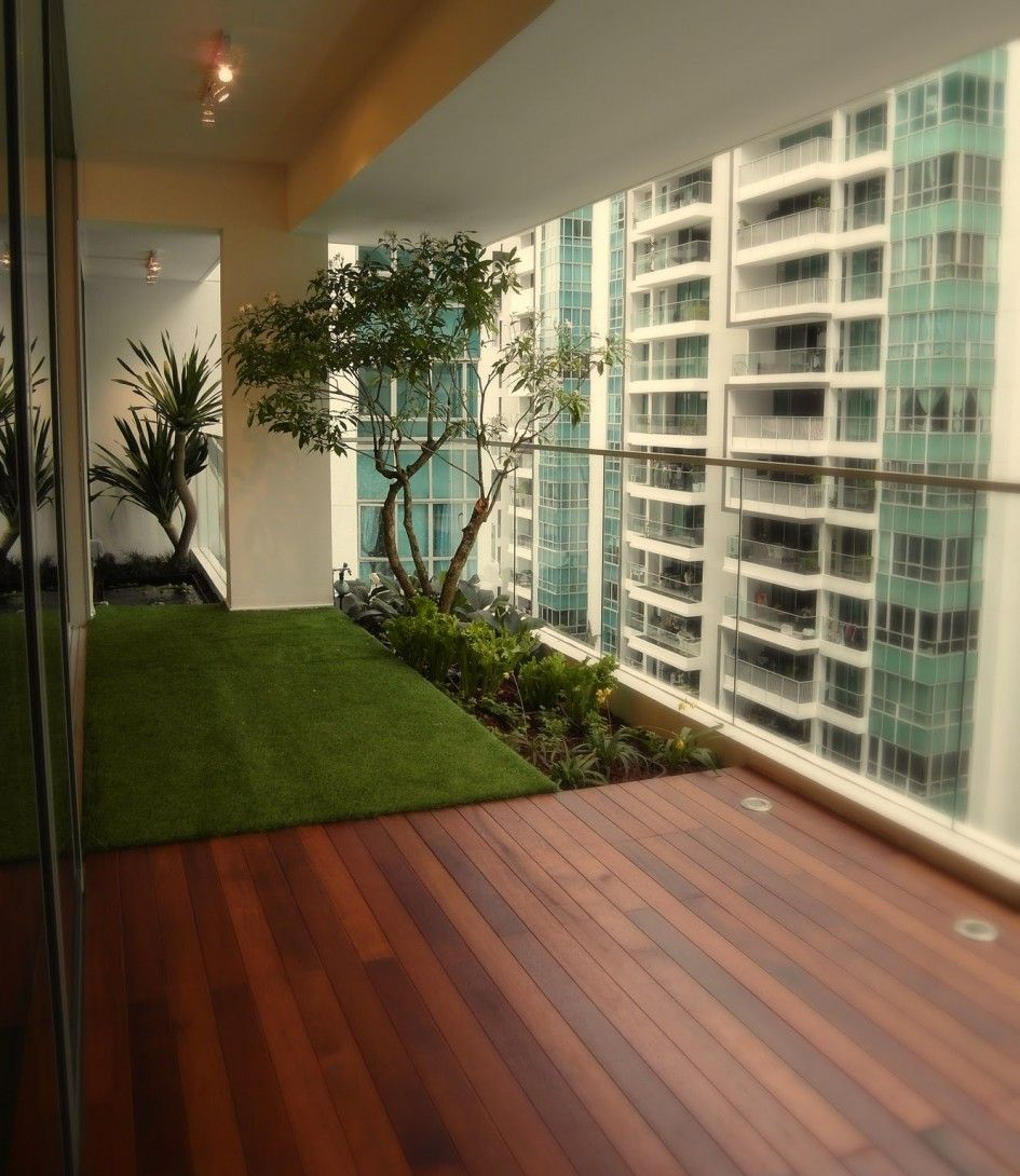 Apartments, Apartment Balcony Decking Emerald Green Fiber