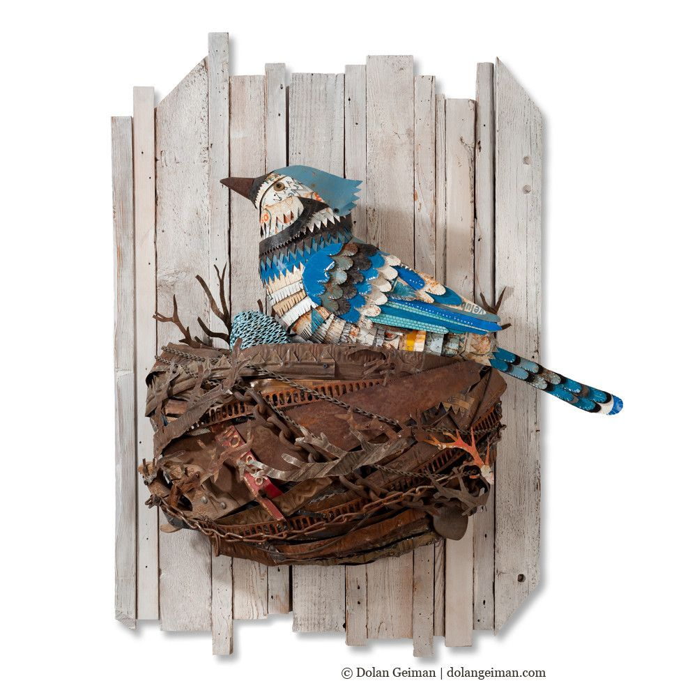 Blue jay metal bird and nest wall sculpture posts metals and ali