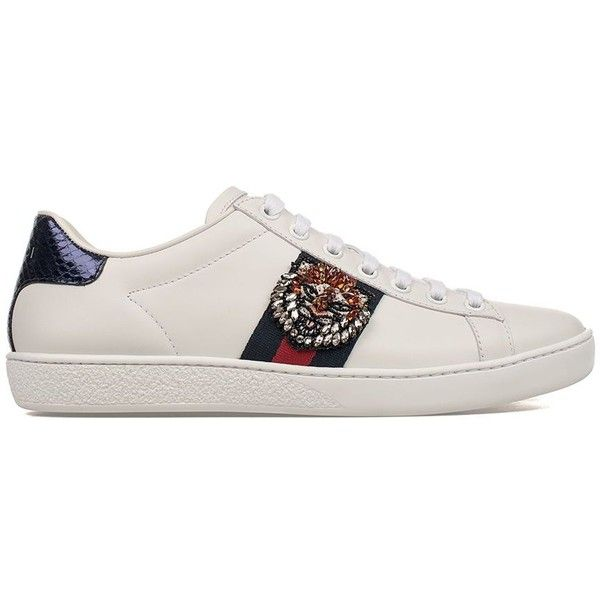 5eab719ba05 White Red Blue Tiger Embroidery Ace Leather Sneakers ($685) ❤ liked on  Polyvore featuring shoes, sneakers, white, gucci sneakers, red sneakers, ...