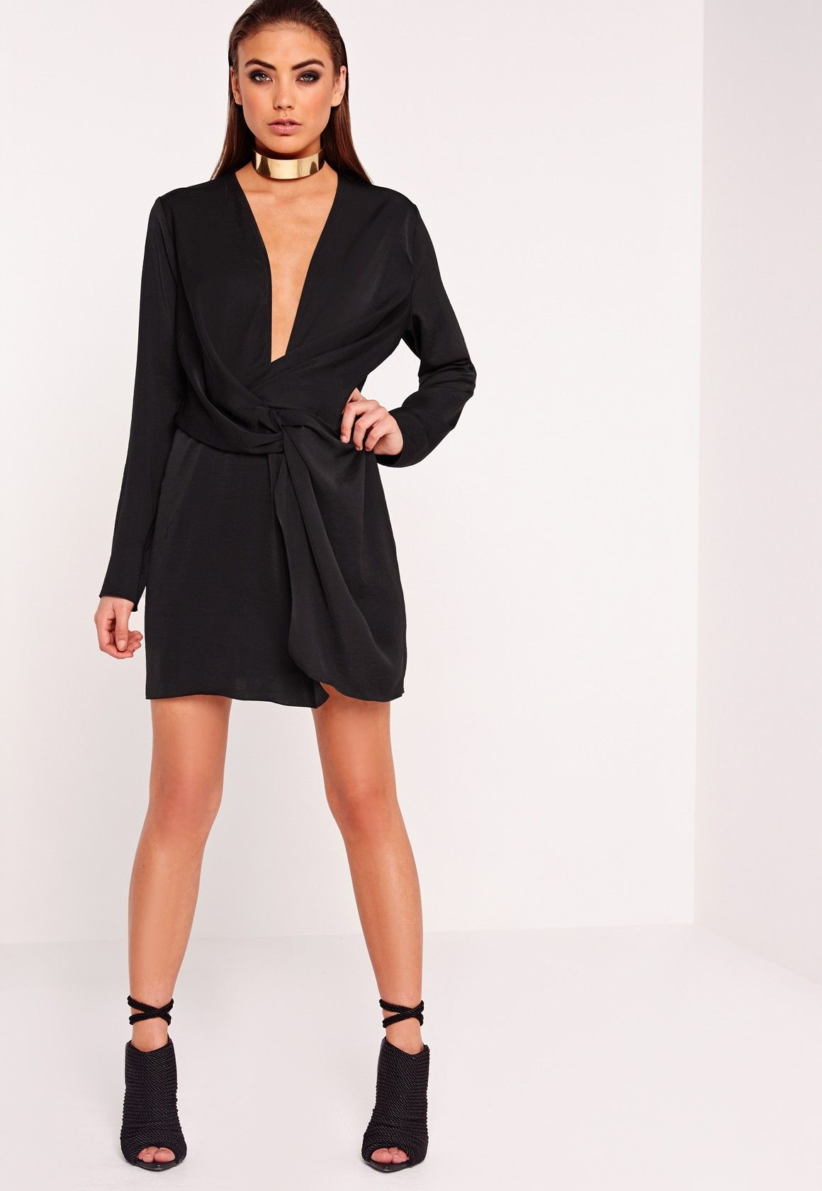 deb2fb11d656 Wrap yourself in our luxe Peace + Love satin mini dress! with a super sexy  plunging neckline, we love, want and need this beaut! In an always on trend  black ...