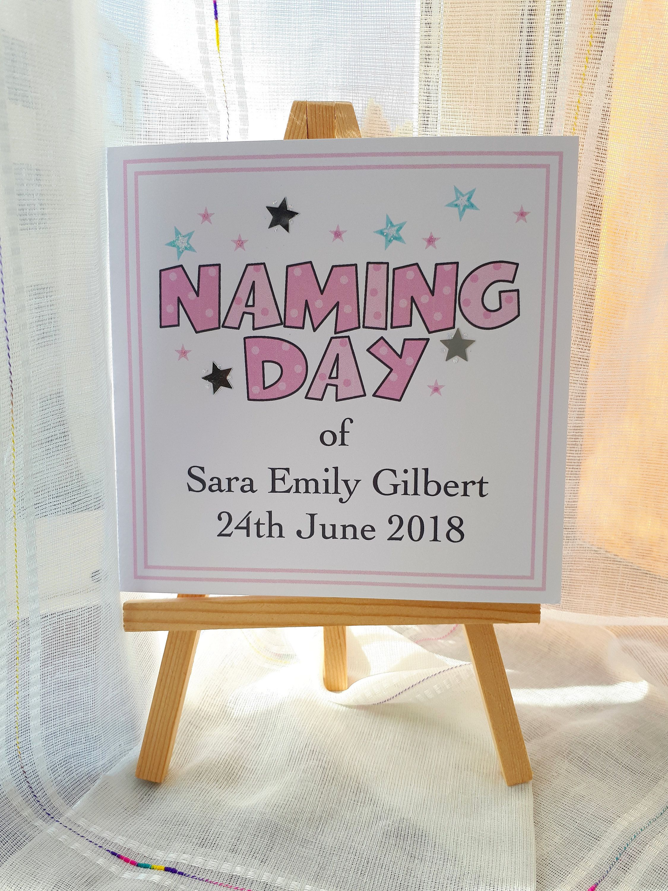 Personalised naming day card for a girl baby naming ceremony gift personalised naming day card for a girl naming ceremony celebration handmade custom greetings card blank inside 148 x 148cm by sweetpeapollyscrafts m4hsunfo