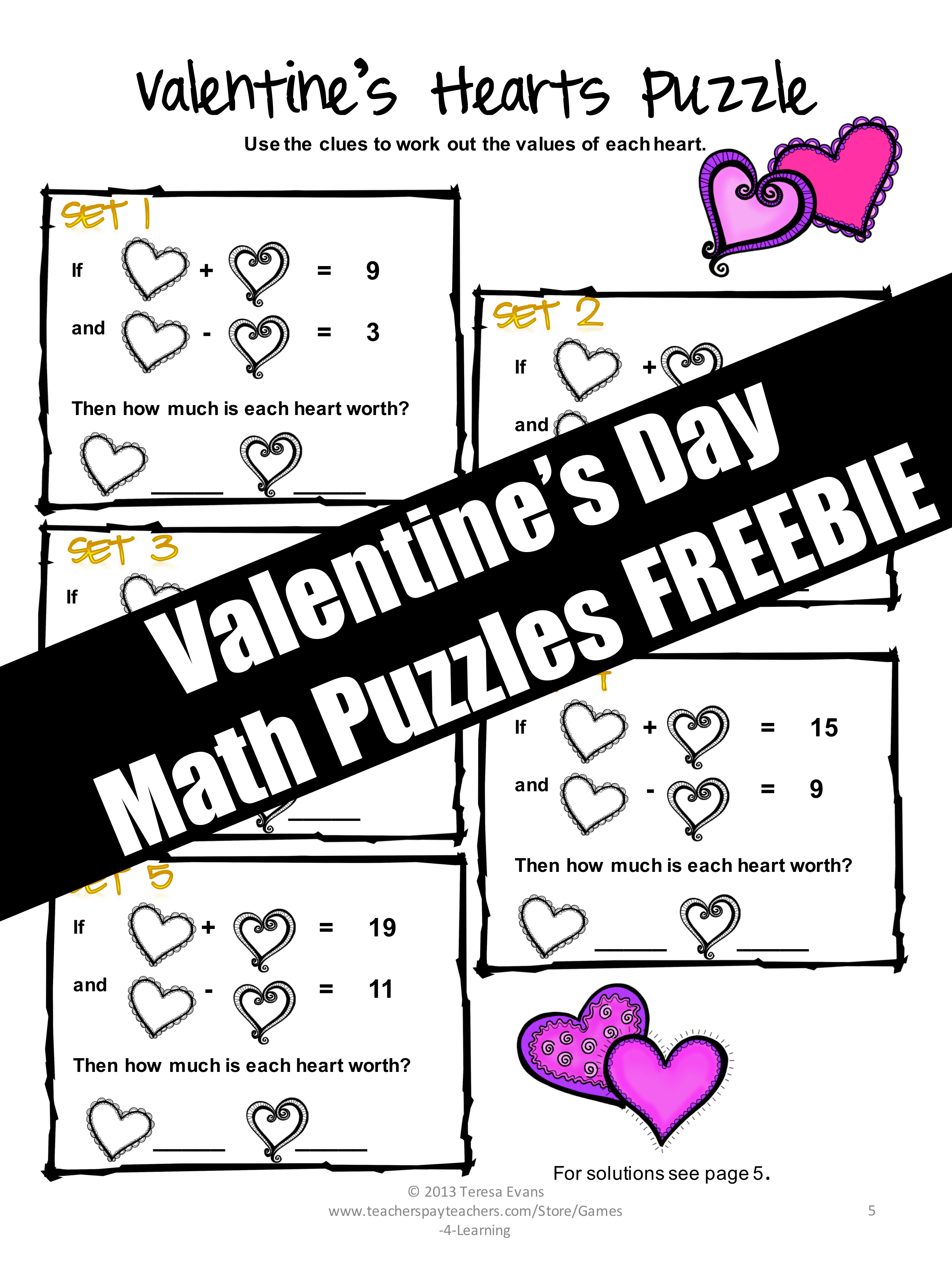 Free Valentine S Day Math Worksheet Puzzles
