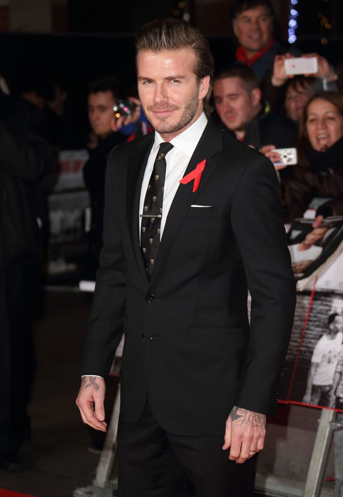 Soccer superstar David Beckham was dapper in a Ralph Lauren Black Label suit at Sunday\u0026#39;s premiere