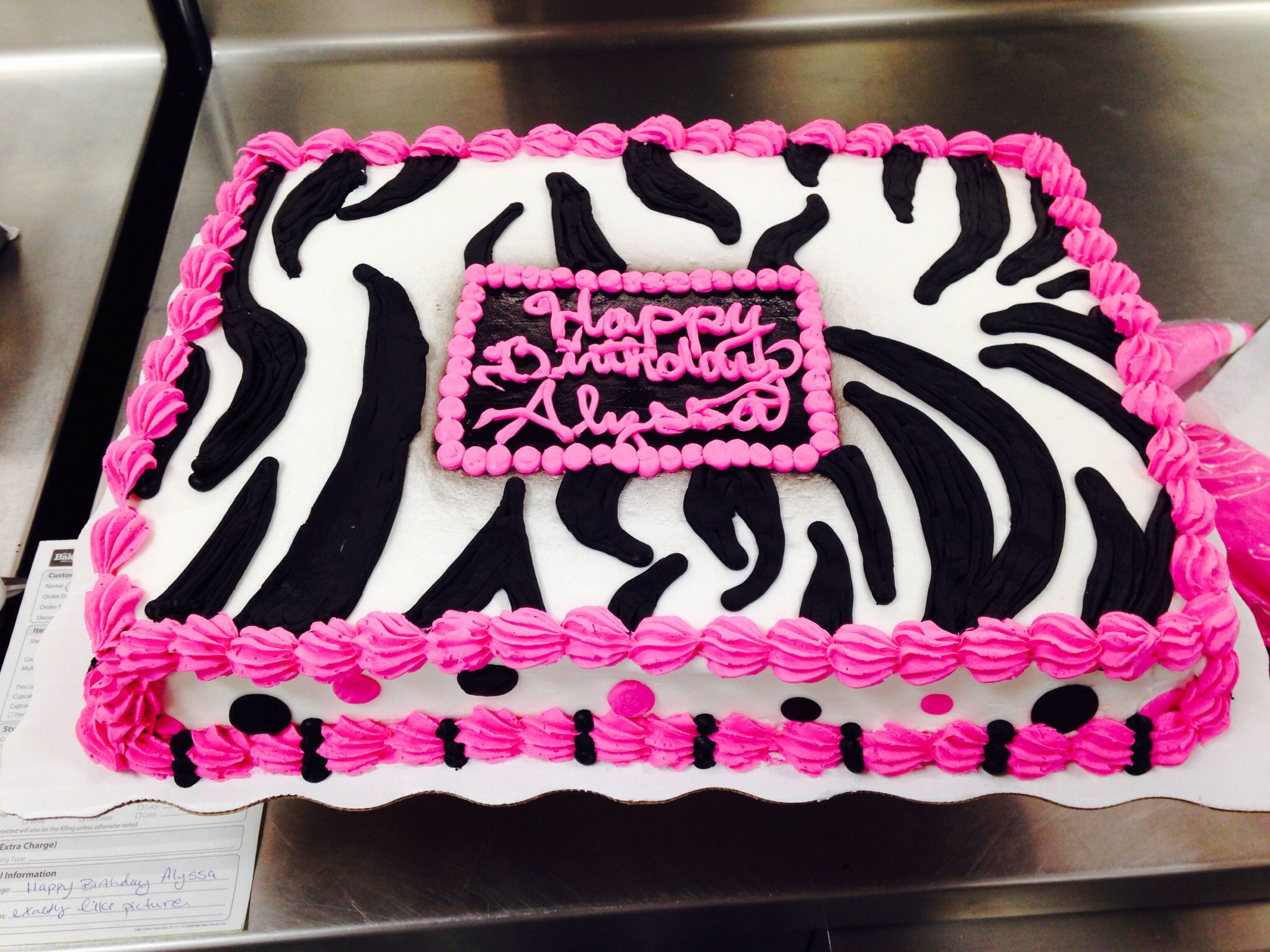 Zebra Sheet Cake Birthday