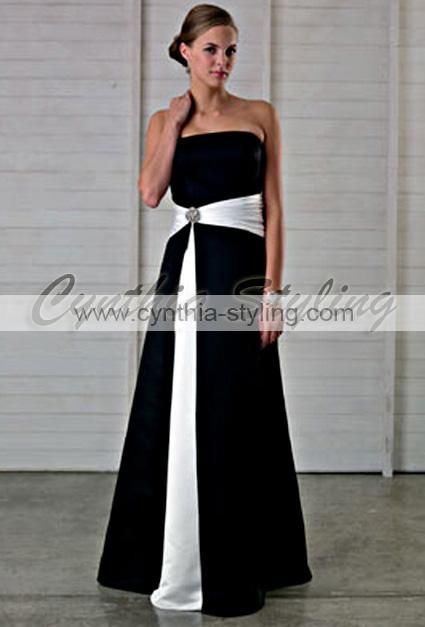 Black N White Wedding Dresses : Black white bridesmaid plus size evening dress k n wedding