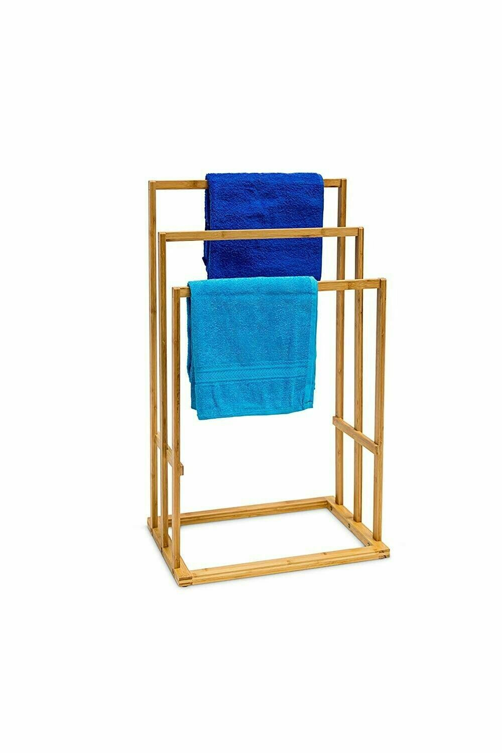 3 Tier Bamboo Wood Wooden Towel Holder Rail Stand Drying Rack Free Standing Bamboo Towels Towel Holder Free Standing Towel Holder