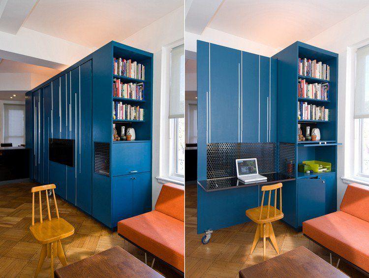 Aménagement petit espace sol en parquet massif coin bureau et