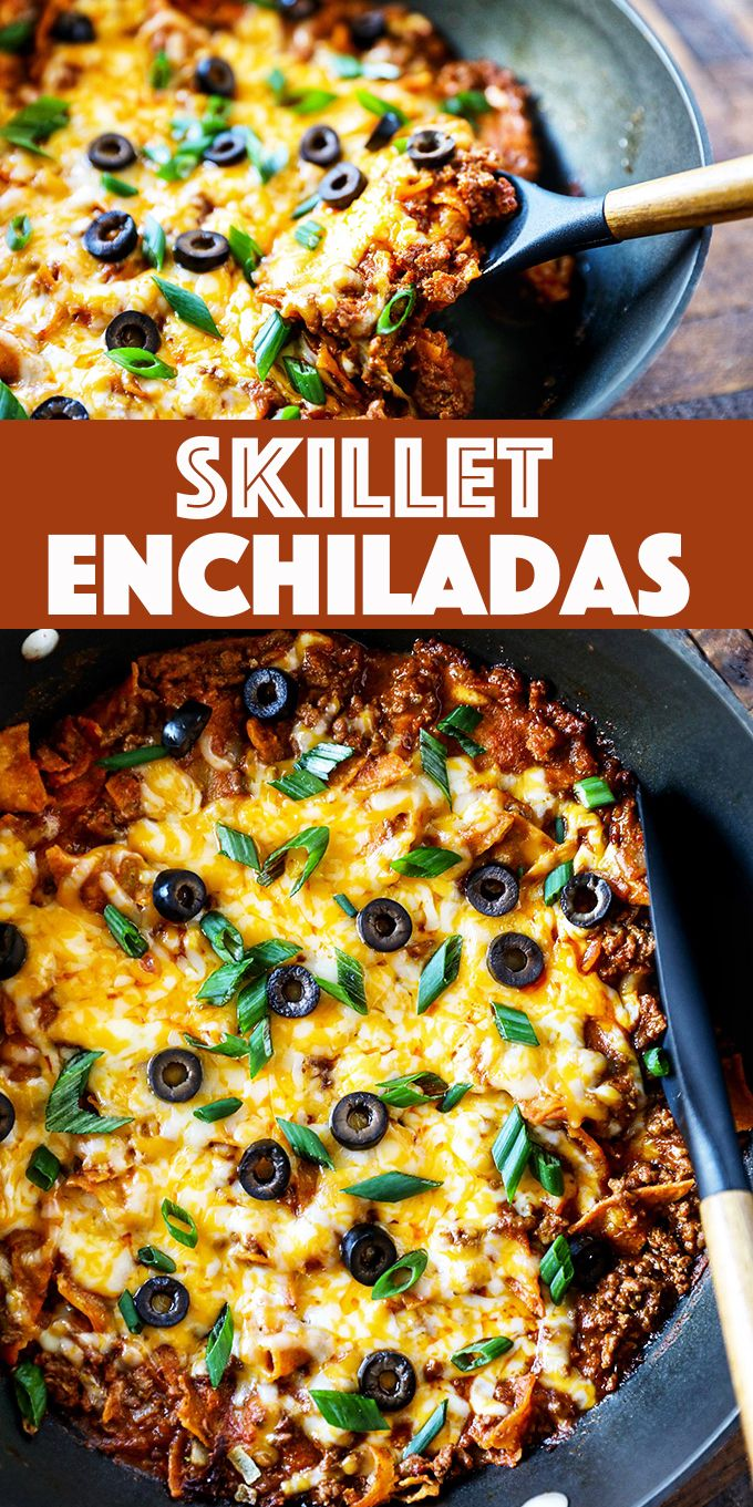 Skillet Enchiladas - this easy enchilada recipe is loaded flavor. Ground beef, corn tortillas, enchilada sauce and melty cheese on the table in 20 minutes.