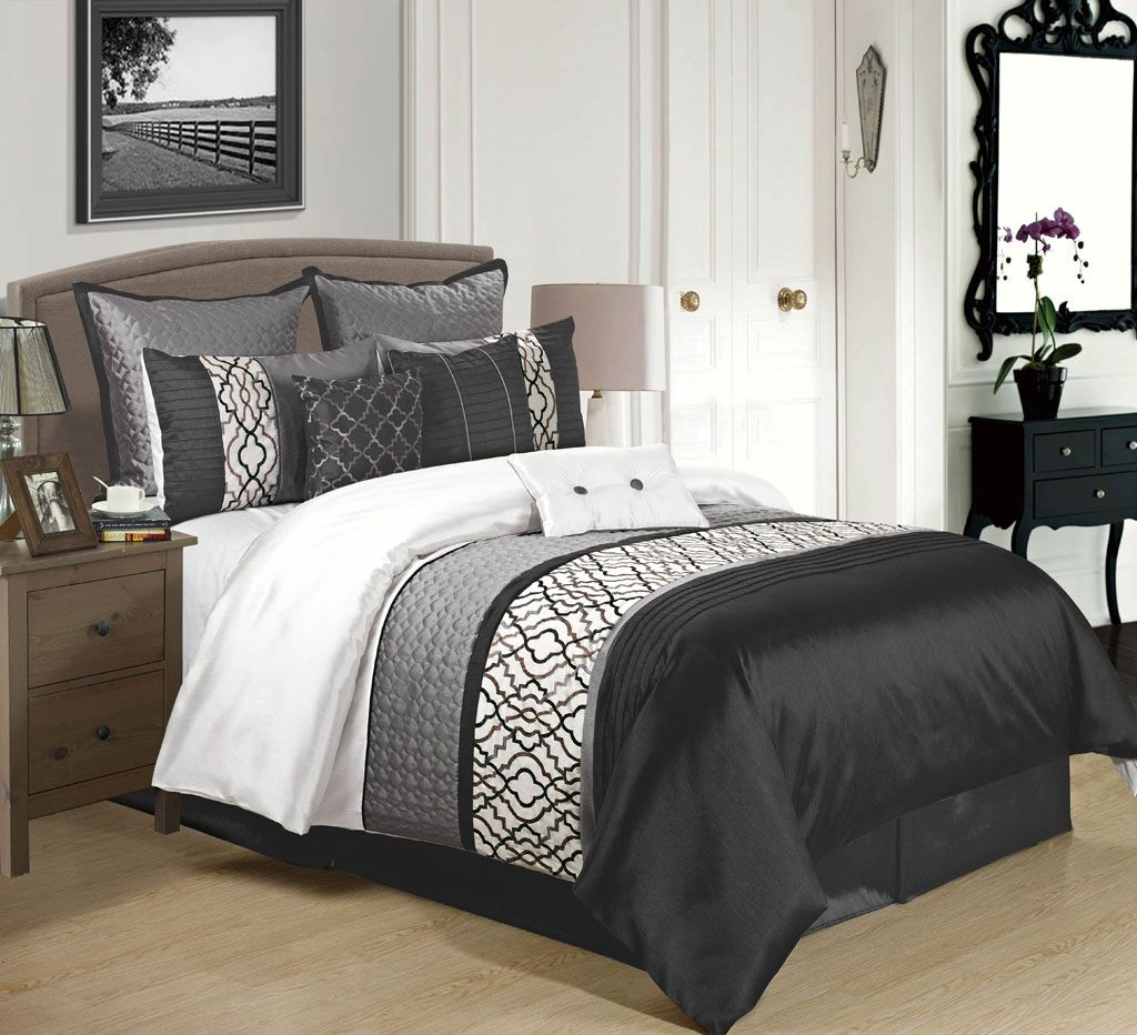 Best 9 Piece Cambridge Black Charcoal White Comforter Set 400 x 300