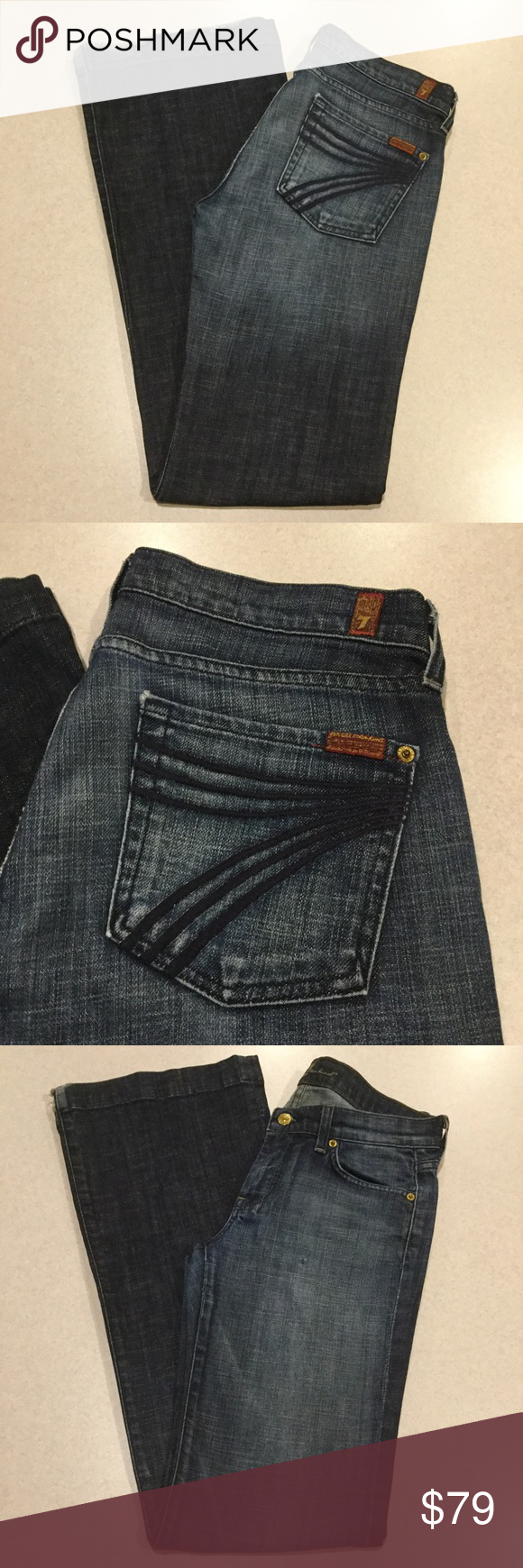 7 For All Mankind Jeans 30X34.5 Dojo In Broadway! ❗️PRICE ABSOLUTELY FIRM❗️ 7 for all mankind jeans Size 30 34.5 inch long inseam (hard to find) The dojo in Broadway Famous blue stitched 7 back pockets Dark heather blue stretch denim with medium fading and distressing Great preowned condition, no flaws except some wear on heals as shown Retailed for $198.00 My dojos sell fast so don't wait on these!  All of my items come from a smoke free, pet free home and are authenticity guaranteed…