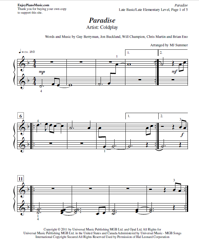 Paradise Coldplay Sheet Music For Easy Piano At Late Elementary Level Coldplay Sheet Music Easy Sheet Music