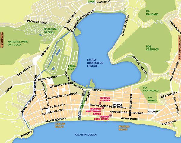Brazil Travel Guide Ipanema and Leblon Rio de Janeiro Map Brasil