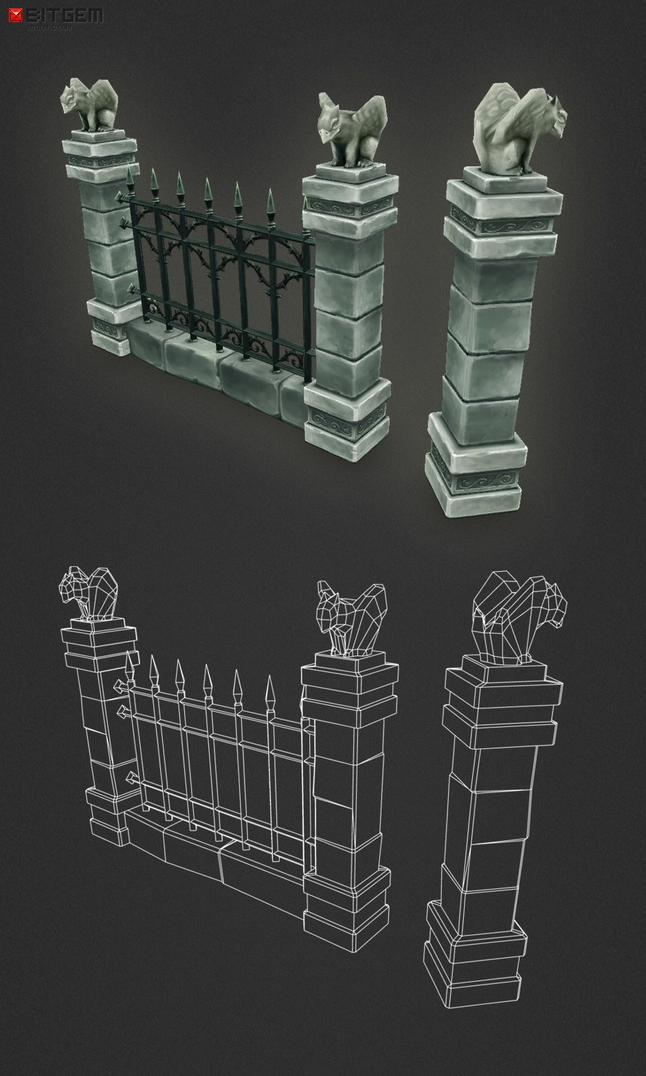 Cemetery Starter Set Low Poly 3D Models in 2019 Low
