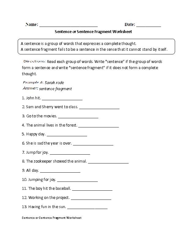 Sentence or Fragment Worksheet | Englishlinx.com Board in 2018 ...