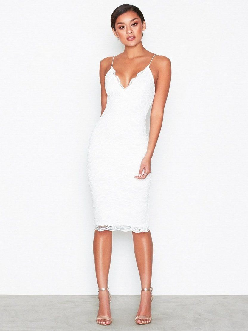 Virka Bodycon Midi klänning vit   Fruugo SE