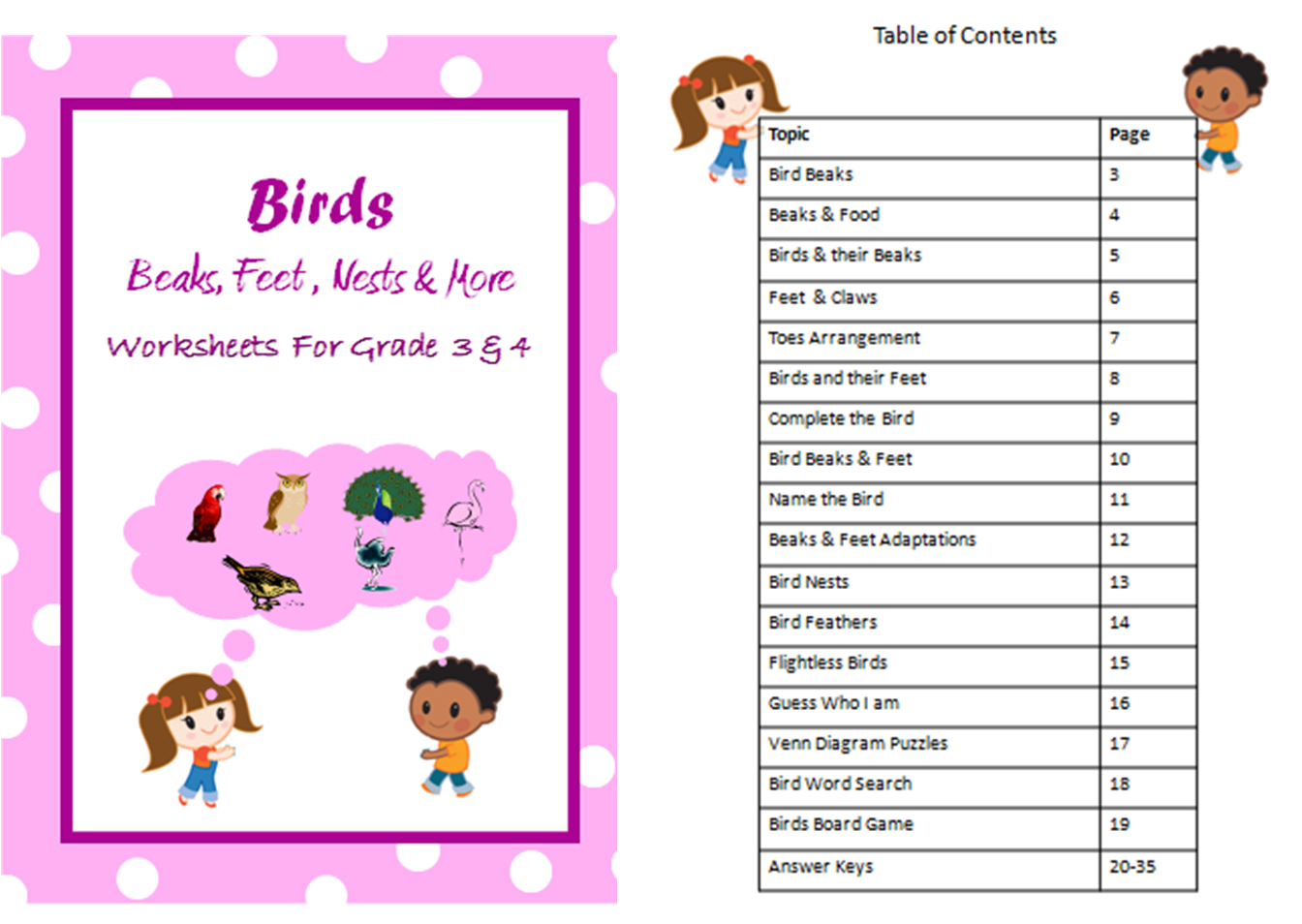Worksheets On Birds Beaks Feet Nests Feathers
