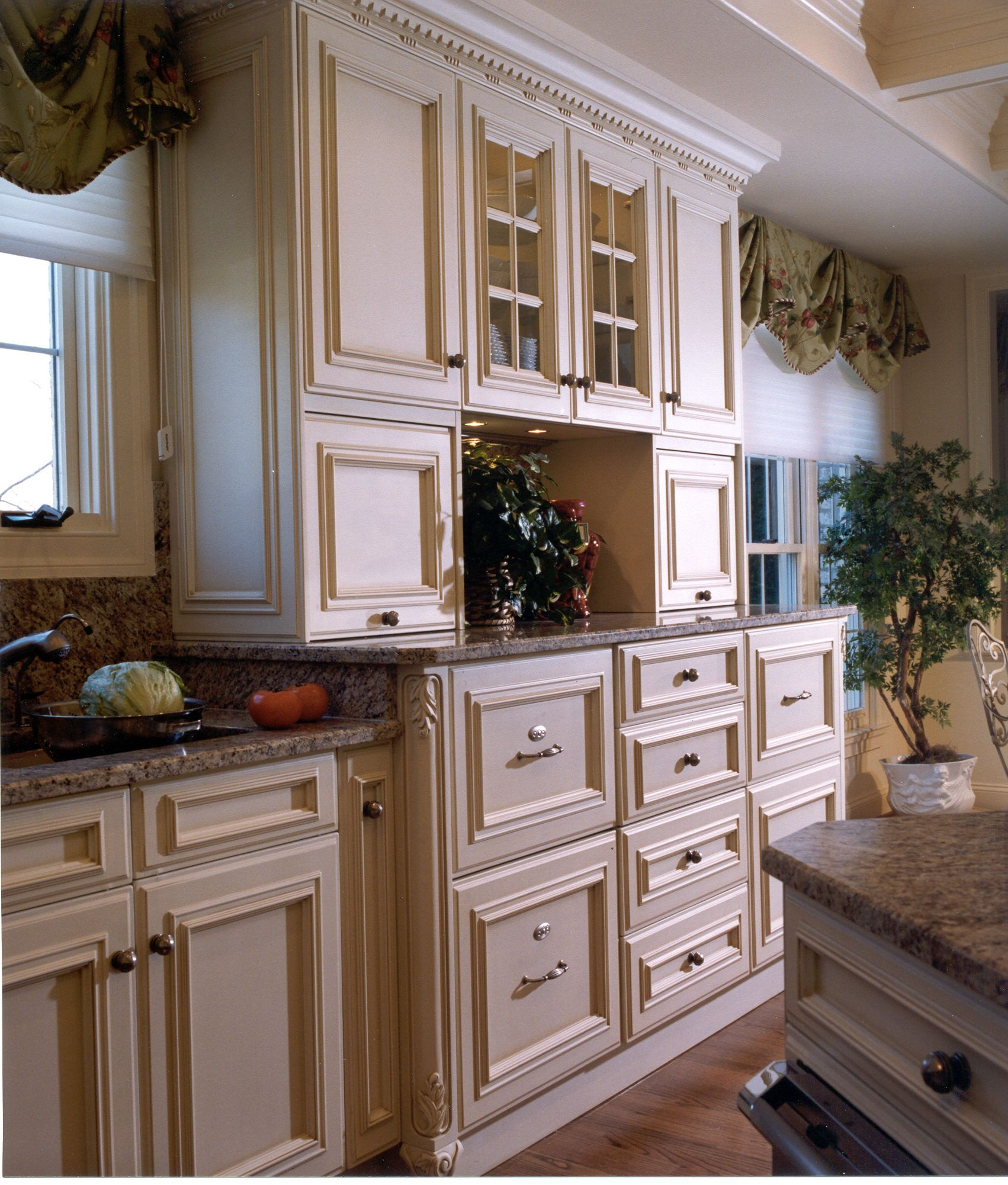 traditional kitchen refrigerator drawers appliance garages glass door cabinets traditional on kitchen organization cabinet layout id=66349