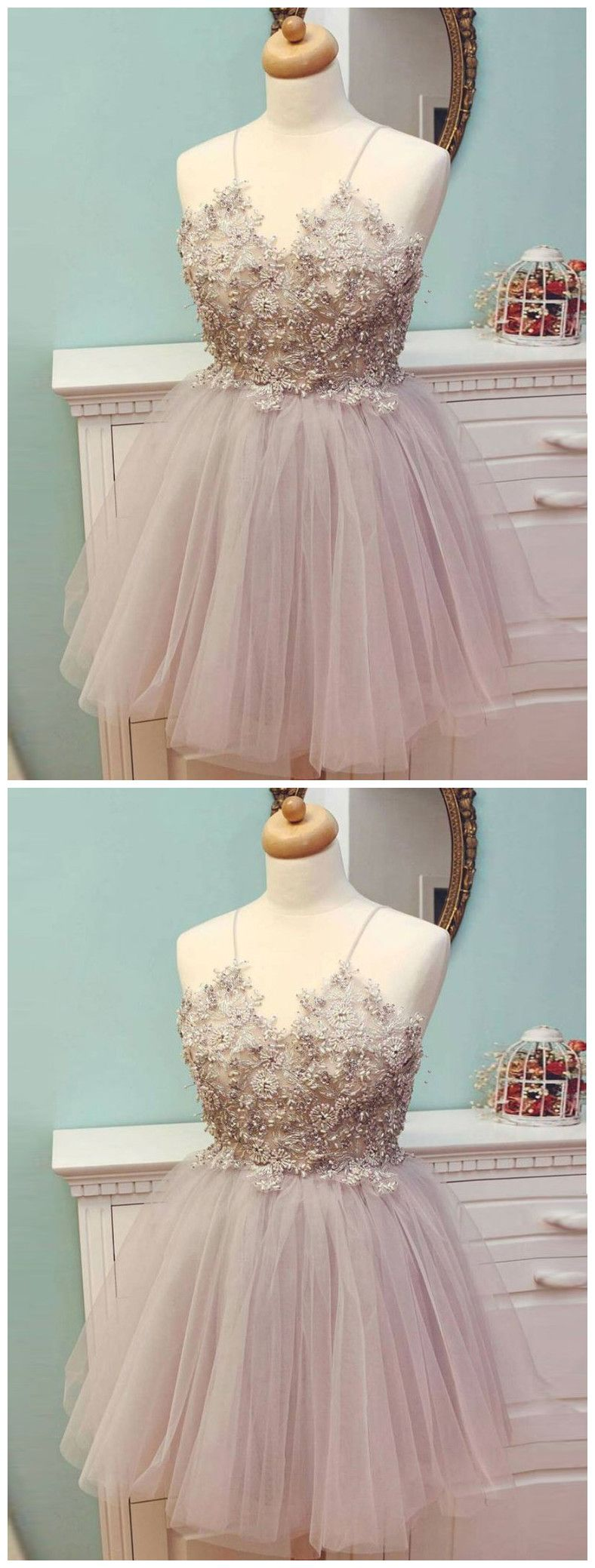 Aline spaghetti straps sparkly homecoming dress pink short prom