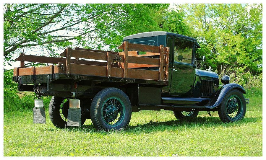An Old Ford 1 1 2 Ton Flatbed Truck Trucks Old Fords Vintage Pickup Trucks