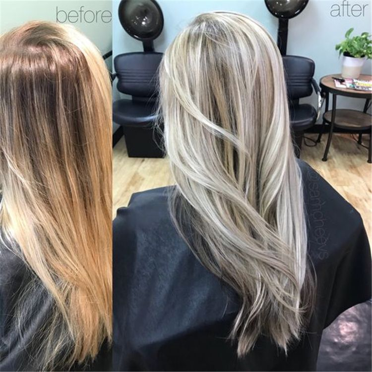 50+ Hair Color Trends in 2019 Before & After: Highlights on Hair + Tips #platinumblondehighlights