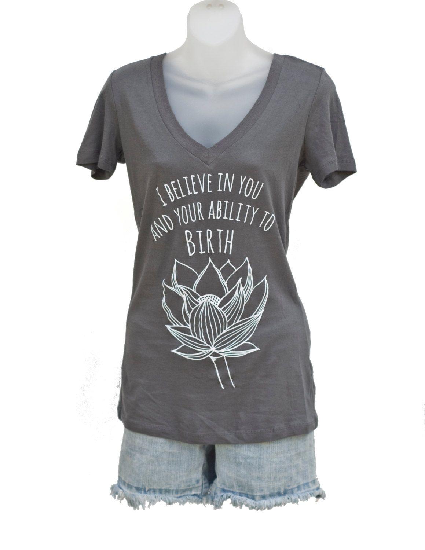 Lotus flower birth affirmation v neck t shirt top in gray doula lotus flower birth affirmation v neck t shirt top in gray izmirmasajfo Images